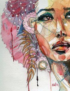 Art of Natiq Fine Art Prints Watercolor Face, Watercolor Portraits, Watercolor Paintings, Drawn Art, Silk Painting, Portrait Art, Female Portrait, Face Art, Art Inspo