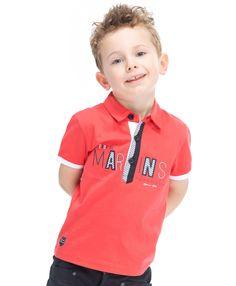 29ab7a41011c4 Polo rouge pastel pour garçon Manches courtes avec rib blancs 100% coton  Fermeture patte bouton