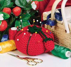Crochet this delicious tomato pincushion to add a festive touch to your Thanksgiving spread. It will keep your hands busy, plus add no calories to your diet. It's also a quick and easy project for the seamstress or gardener on your gift list.