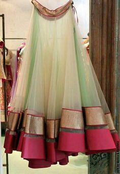 fashion, lehenga, beautiful, mint green, golden pink border, simple, elegant
