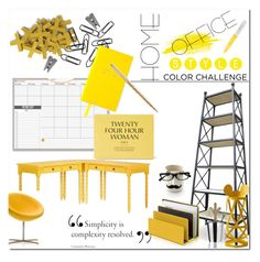 """""""Gray & Yellow Challenge-Office"""" by elleylove ❤ liked on Polyvore featuring interior, interiors, interior design, home, home decor, interior decorating, INC International Concepts, Inspire Q, Alessi and Cappellini"""