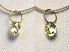One bead of NATURAL Canary CONFLICT FREE Diamond & 18K GOLD PENDANT .26cts 8798N - Premium Bead