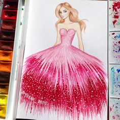"""""""Today i decided to paint the dress  and i hope that you like this as well as others  feel free to leave comments  ..... #fashion #fashionista…"""""""