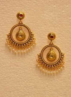 Wedding Wear Bali Style Golden Jhumka With Pearls