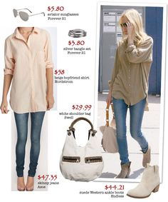 Big slouchy shirt with blue jeans and booties Sexy Outfits, Fashion Outfits, Fashion Trends, Fashion Ideas, Summer Outfits, Casual Outfits, Jeans And Heals, Kate Bosworth Style, Booties Outfit