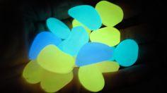 Glow in the Dark resin pebbles - 50 in a drawstring bag