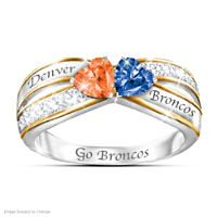 Ring: Broncos Sterling Silver 18K Gold-Plated Pride Of Denver Sapphire Ring