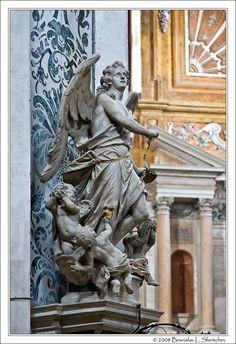 Statue of Archangel Uriel by Torretti (Venice, Italy - Santa Maria Assunta)