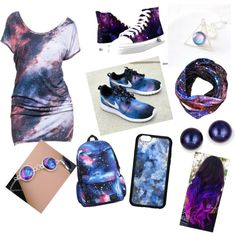 galaxia by anamariamayorgazamudio on Polyvore featuring beauty, Kevin Jewelers and NIKE