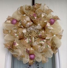 "22"" Cream/Gold Deco Mesh Christmas Wreath with Lavender Poinsettias Ribbon & Cream & Gold Biblical Ribbon"