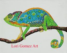 Chameleon Pointillism, Chameleon, Stone Art, Acrylic Painting Canvas, Rocks, Paintings, Artists, Animals, Etsy