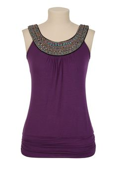 Embellished Neck Banded Bottom Top