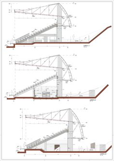 Image 24 of 27 from gallery of Chinquihue Stadium / Cristian Fernandez Arquitectos. Typical Section, Axes 15 to 19 Stadium Architecture, Architecture Plan, Architecture Details, Pavilion Architecture, Roof Structure, Steel Structure, Auditorium Design, Space Frame, Sports Stadium