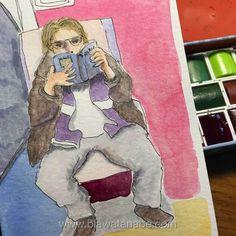 Desenho rápido de um homem feito no trem e pintado em aquarela e outros materiais.