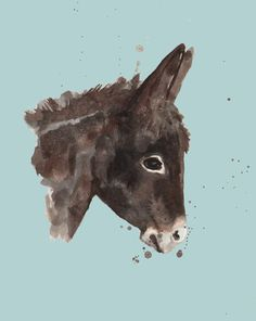 Blue Donkey Art Print by eastwitching | Society6