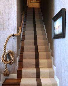 Rope railing to basement…kid friendly.