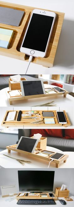 A Bamboo Wooden Office Desk Organizer iPhone Cell Phone Charging Station Dock Mount Holder Charge Cord Cable Organizer Management System Pen Pencil Holder Stand Business Card Display Stand Holder for iPhone 77 Plus6s6s Plus and other smartphones
