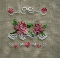 Find this Pin and more on Cross Stitch Roses. Cross Stitch Heart, Cross Stitch Borders, Cross Stitch Alphabet, Cross Stitch Flowers, Cross Stitch Designs, Cross Stitching, Cross Stitch Patterns, Ribbon Embroidery, Cross Stitch Embroidery