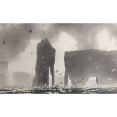 Channelling landscape's sublime power to enthral, Norman Ackroyd RA depicts Papa Stour, one of the most rugged of the Shetland Islands. Produced in 2014 during the artist's travels. Ackroyd sketches and paints small-scale watercolours in-situ. Landscape Art, Landscape Paintings, Landscapes, Devine Comedy, Norman Ackroyd, Royal Academy Of Arts, Rendering Techniques, China Art, Chiaroscuro