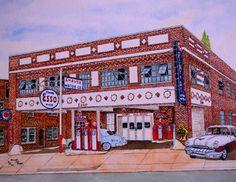 Esso Station Pontiac Dearlership Original Watercolor by by MJMH2O, $499.00