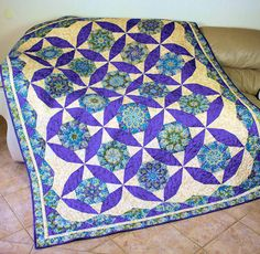 Twin Bed Quilt  Quilted Stack and Whack in by QuiltSewPieceful