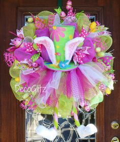 EASTER TUTU BUNNY Wreath with Whimsical Easter Hat by decoglitz