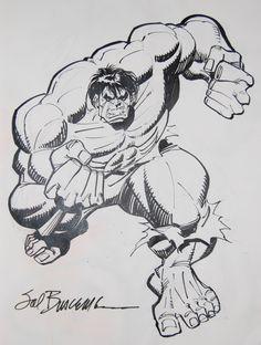 Hulk - Sal Buscema, in Thomas Suhling's Hulk Sketchbook - Volume I - Comic Art Gallery Room Hulk Comic, Hulk Avengers, Hulk Marvel, Marvel Dc Comics, Marvel Heroes, Comic Book Artists, Comic Artist, Comic Books Art, Sal Buscema