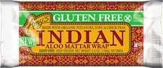 Gluten Free Indian Aloo Mattar Wrap  (Vegan) Delicately spiced organic potatoes, tofu and chick peas in our tasty gluten free tortilla.