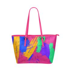 Groovy Paint Brush Strokes with Music Notes Leather Tote Bag/Large (Model 1651)
