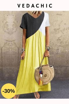 Color Block Tunic Round Neckline Maxi Shift Dress fashion trends Blazers,fall fashion trends Winter Coats,fall fashion trends Vogue,fallfashion trends Ready To Plus Size Maxi Dresses, Casual Dresses, Fashion Dresses, Short Sleeve Dresses, Summer Dresses, Summer Maxi, Spring Summer, Maxi Robes, Latest Fashion For Women