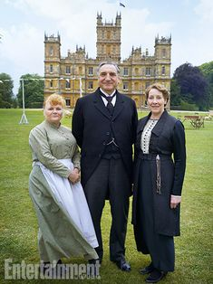 Downton Abbey staff: Lesley Nicol as head cook Mrs. Patmore, Jim Carter as butler Carson, and Phyllis Logan as housekeeper Mrs. Hughes.
