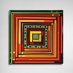 Log Cabin Triptych - Square Panels by Helen Rudy (Art Glass Wall Sculpture) | Artful Home