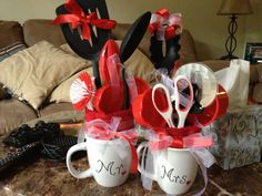 DIY Bridal shower gifts. Just wrap a few utensils in a face cloth, put in mug, and add ribbon! Easy and cheap!