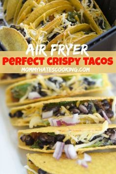 Air Fryer Tacos are the easiest air fryer recipe around. This is the perfect way to make warm, crispy tacos in less than 5 minutes in the Air Fryer! Lunch Recipes, Easy Dinner Recipes, Gourmet Recipes, Mexican Food Recipes, Beef Recipes, Easy Meals, Healthy Recipes, Ethnic Recipes, Dinner Ideas