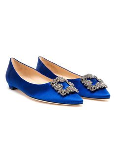 MANOLO BLAHNIK Hangisi Embellished Satin Flats royal blue