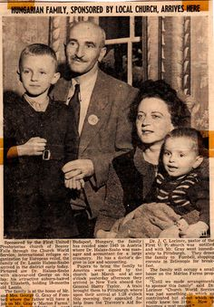 An undated newspaper article announces the Sabo family's arrival to the U.S. (Courtesy of George Sabo)
