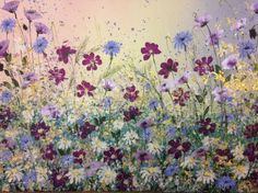 ARTFINDER: Summer flower burst by Jane Morgan - A burst of summer flowers, daisies, cosmos, cornflowers and purple poppies with glitter and metallic gold under a soft sky. The sides are cream, ready to han...