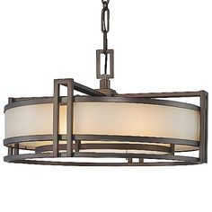 Set the tempo for a warm, sophisticated lighting scheme with the Metropolitan Lighting Underscore Drum Pendant. The drum-shaped Brushed Caramel Silk glass shade is held within an intricate barred frame finished in a rich Cimarron Bronze. PLEASE NOTE: THIS IS AN OPEN BOX RETURN ITEM. PRODUCT IS IN NEW CONDITION. ALL OPEN BOX SALES ARE FINAL. QUANTITIES LIMITED TO STOCK ON HAND.