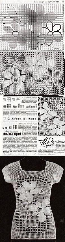 Красивая кофточка в технике филейного вязания схема. Филейное вязание схемы   Домоводство для всей семьи