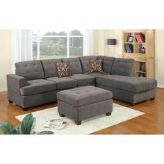 Modern Reversible Grey Charcoal Sectional Sofa Couch With Chaise And Ottoman