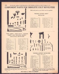 1939 COLT Revolver Obsolete Parts List AD DAA Double Action New Army Navy Marine