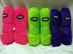 Extreme Vented Sports Splint Front Leg Boots Hot Pink Lime Green Purple S M L