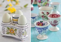 A Gathering of Eggcups - Victoria Magazine Victoria Magazine, Toast Rack, Spring Party, Container Flowers, Egg Cups, Breakfast In Bed, Easter Dinner, Tablescapes, Eggs