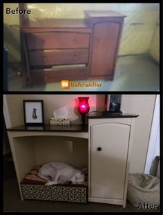 Old broken child's dresser made into a dog bed with storage.