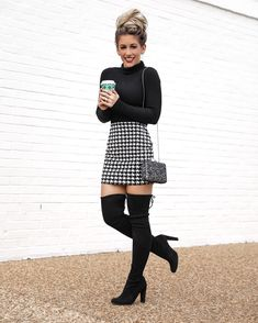 Express Houndstooth mini skirt christmas Thanksgiving outfit idea Black Turtlene - Winter Boots - Ideas of Winter Boots - Express Houndstooth mini skirt christmas Thanksgiving outfit idea Black Turtleneck Stuart Weitzman Over the knee boots Holiday style Winter Boots Outfits, Winter Fashion Outfits, Holiday Fashion, Teen Fashion, Fall Outfits, Cute Outfits, Holiday Style, Party Outfits, Edgy Outfits