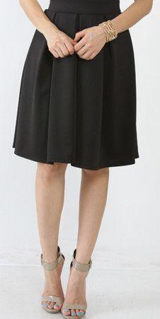 Pleated Gathered Black Midi Skirt
