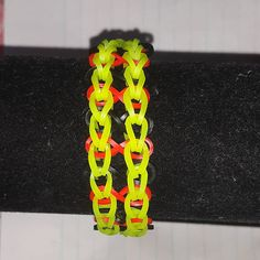 Rainbow Loom Ladder Style Friendship Bracelet Bright Green and Black 2 Variations to Choose from
