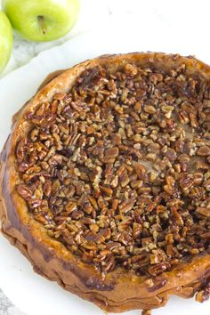 Upside Down Apple Pecan Pie Recipe - from RecipeGirl.com