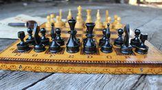 Hölzerne Chess Set Jahrgang Schach Brettspiel braun von NarMag