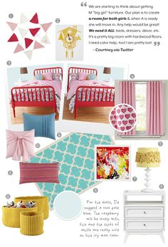 Inspiration board for girly room- red and pink and pops of blue